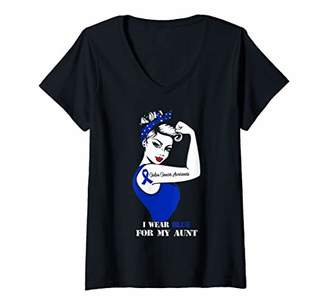 Womens I Wear Blue For My Aunt Colon Cancer Awareness Gift V-Neck T-Shirt
