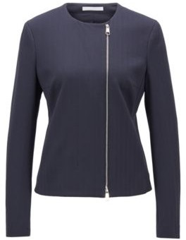 HUGO BOSS Regular Fit Jacket In Herringbone Stretch Jersey - Light Blue