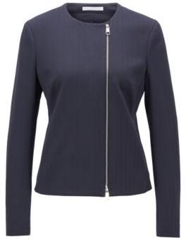 HUGO BOSS Regular Fit Jacket In Herringbone Stretch Jersey - Open Blue