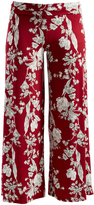 Glam Burgundy & White Floral Palazzo Pants - Plus