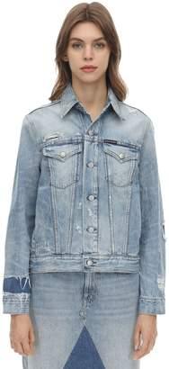 Calvin Klein Jeans Destroyed Cotton Denim Trucker Jacket