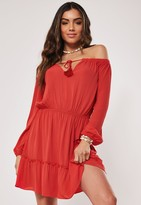 Missguided Tall Red Bardot Tassel Skater Mini Dress