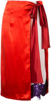 Toga satin contrast wrap skirt - women - Polyester/Acetate/Rayon - 36