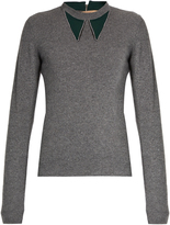 No.21 NO. 21 Contrast-collar wool and cashmere-blend sweater