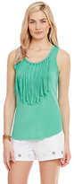 MICHAEL Michael Kors Grommet and Fringe Trim Knit Tank