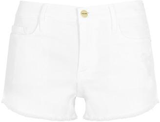 Frame White denim shorts