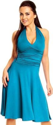 Zeta Ville - Women's Ruched Waist Flattering Sleeveless Halterneck Dress - 145z (Cyan UK 16 2XL)