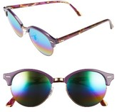 Ray-Ban Women's Clubround 51Mm Mirrored Rainbow Round Sunglasses - Red Rainbow