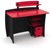 Legare Furniture Legaré Kids Furniture Race Car Series Collection, No Tools Assembly 43-inch Complete Desk System with File Cart, Red and Black