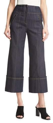 Cinq à Sept Marla High-Waist Wide-Leg Denim Pants, Blue