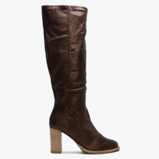 Lamica Bronze Metallic Leather Knee High Boots