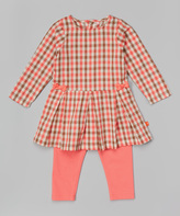 Magnificent Baby Pink Plaid Pleated Magnetic Closure Dress & Leggings - Infant