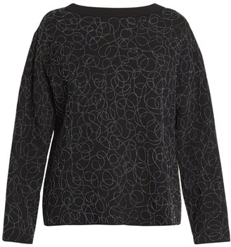 Alaia Beaded Embroidered Wool-Blend Sweater