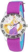 Disney Girl's 'Rapunzel' Quartz Plastic and Nylon Automatic Watch, Color:Purple (Model: W002966)