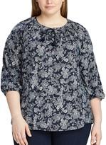 Chaps Plus Size Floral Lace-Up Top