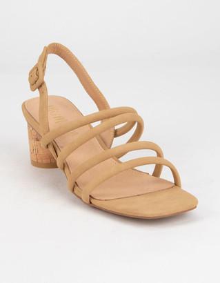 Zoey MI.IM Strappy Cork Womens Coral Block Heels