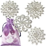 kilofly 4pc Rhinestone Wedding Crystal Floral Fashion Brooch Pin + Gift Bag