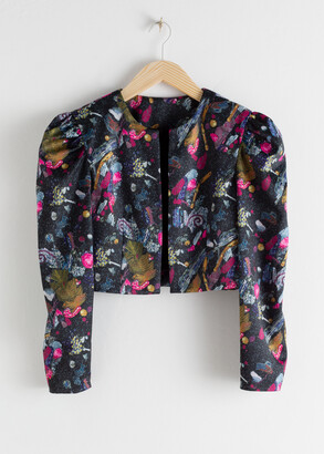 And other stories Graphic Sequin Print Cropped Jacket