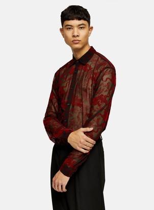 Topman JADED Red Dragon Mesh Shirt*