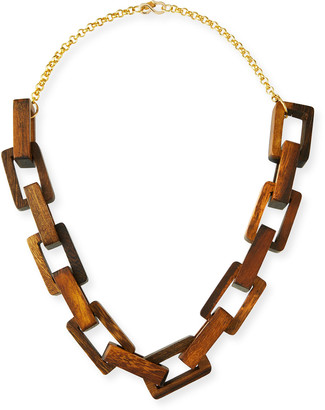Kenneth Jay Lane Wooden Square-Link Necklace