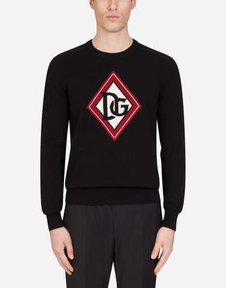 Dolce & Gabbana Crew Neck Cashmere Sweater With Jacquard Logo