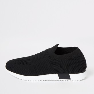 River Island Kids Black knit runner trainers