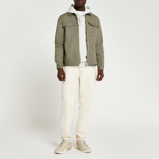 River Island Mens Khaki zip front denim overshirt jacket