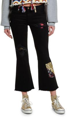 Alanui Flared Rip & Repair Jeans with Silk Insert