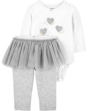 Carter's Baby Girls 2-Piece Glitter Heart Bodysuit and Tutu Pant Set