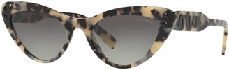 Miu Miu MU 05TS Women's Stud Cat's Eye Sunglasses, Light Tortoise/Grey Gradient