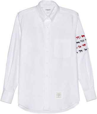 Thom Browne Embroidered Button Down in White | FWRD
