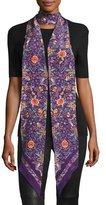 Roberto Cavalli Long Skinny Floral Silk Scarf, Purple