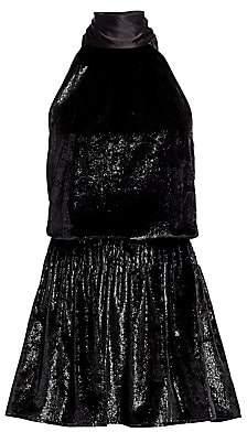 Ramy Brook Women's Lori Shimmer Velvet Halter Mini Dress