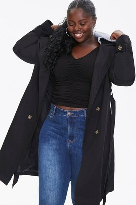 Forever 21 Plus Size Hooded Double-Breasted Trench Coat