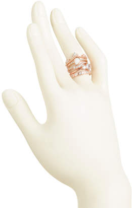 Set Of 5 Rose Gold Plated Sterling Silver Cz Stacking Rings