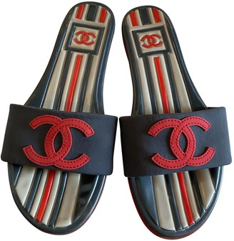Chanel Red Plastic Sandals