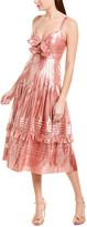 Rebecca Taylor Metallic Bow Silk-Blend A-Line Dress