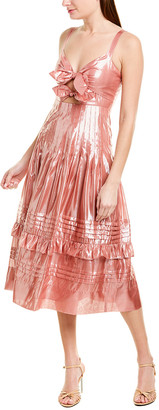 Rebecca Taylor Metallic Bow Silk-Blend A-Line Dress