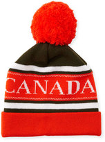 Canada Goose Men's Merino Wool Logo Pom-Pom Cap, Green/Orange