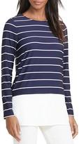 Lauren Ralph Lauren Solid Hem Stripe Jersey Top