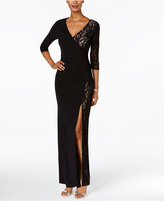 R & M Richards Lace Faux-Wrap Dress
