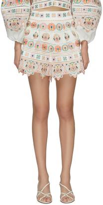 Zimmermann 'BRIGHTON' Embroidered Ruffle Hem Shorts