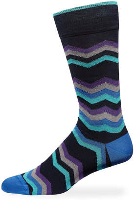 Bugatchi Men's Chevron Crew Socks