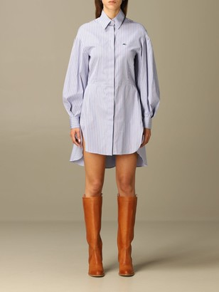 Etro Shirt Dress In Cotton Rod With Embroidered Logo