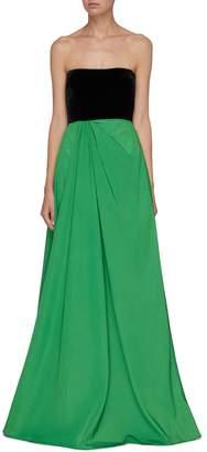 Alex Perry 'Dalton' colourblock velvet panel taffeta strapless gown