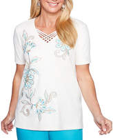Alfred Dunner Scottsdale Short Sleeve V Neck Floral T-Shirt-Womens