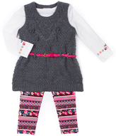Little Lass Gray & Pink Sweater Vest Set - Toddler & Girls