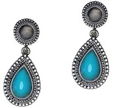 Gottex Silver Plated Turquoise & Crystal Drop Earrings.