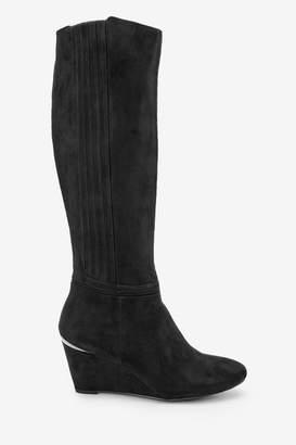 Next Womens Black Regular/Wide Fit Forever Comfort Wedge Knee High Boots - Black