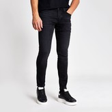 Mens River Island Black washed Sid skinny jeans